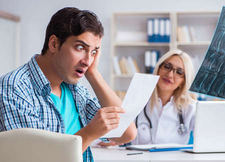 Male patient angry at expensive healthcare bill
