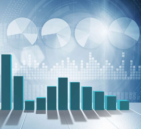 The growing bar charts in economic recovery concept - 3d rendering