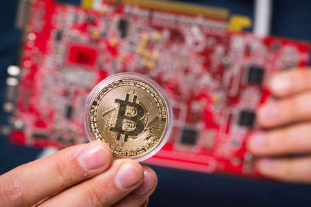 The young man in bitcoin mining concept