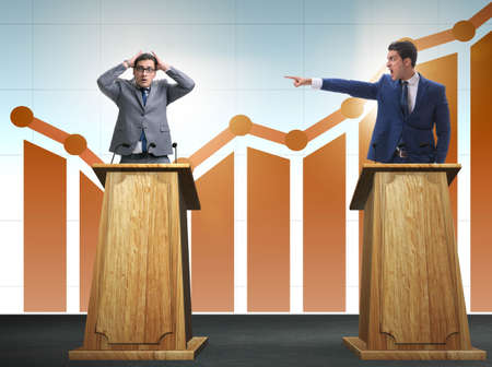 Man businessman making speech at rostrum in business concept