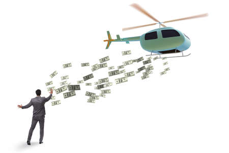 Helicopter money concept with businessman 스톡 콘텐츠