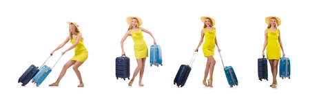 Woman going to summer vacation isolated on white Archivio Fotografico