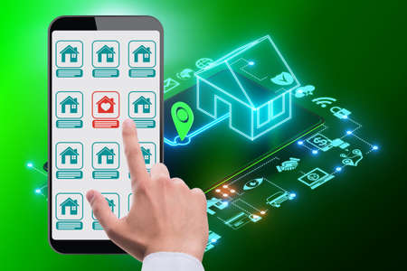 Concept of buying real estate over internet 스톡 콘텐츠