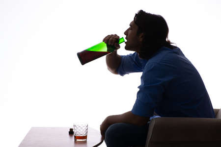 Young man suffering from alcoholism