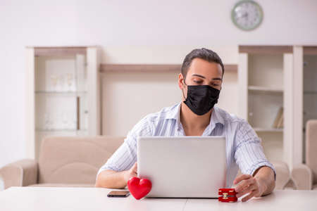 Young man in love during pandemic disease