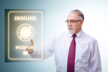 Concept of immunity passport - pressing virtual button