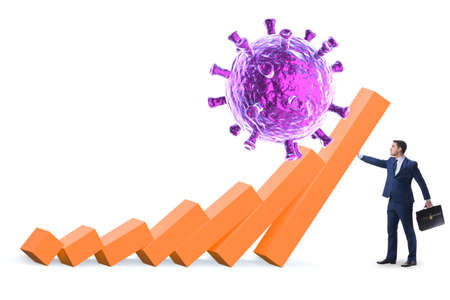 Concept of economic crisis from coronavirus covid-19 写真素材