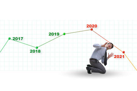 Businessman in market crash concept