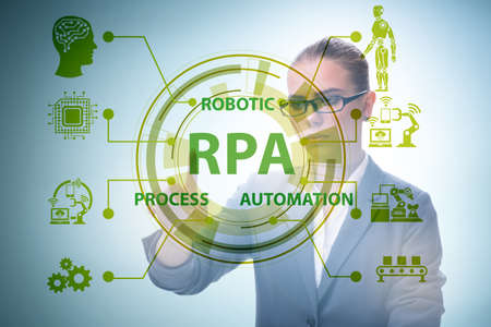 Businesswoman pressing buttons in RPA concept