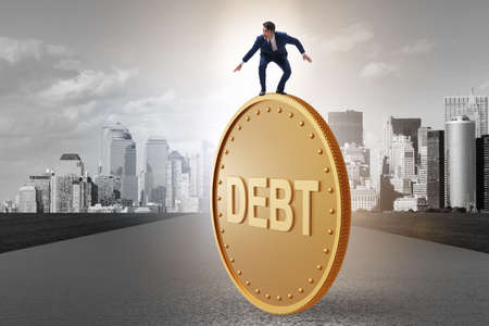 Businessman in debt and loan concept Banque d'images - 151432091