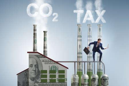 Businessman in carbon tax concept Banque d'images - 151432071