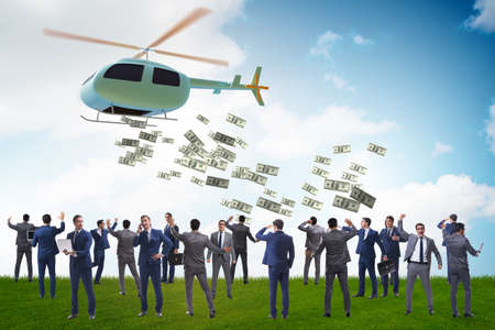 Businessman in helicopter money concept Banque d'images - 151431242