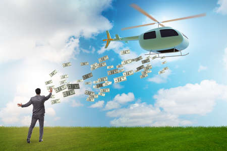 Helicopter money concept with businessman Banque d'images - 151431244