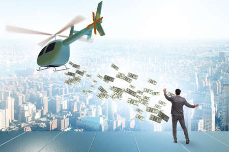 Helicopter money concept with businessman Banque d'images - 151431247