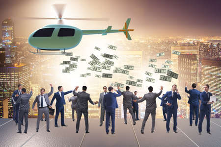 Businessman in helicopter money concept Banque d'images - 151431180