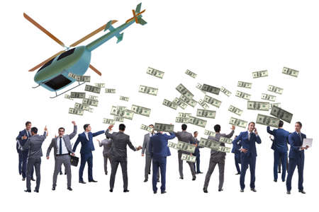 Businessman in helicopter money concept Banque d'images - 151431181