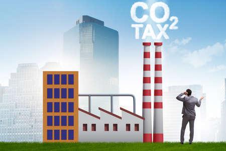 Businessman in carbon tax concept Banque d'images - 151431100