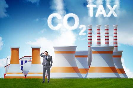 Businessman in carbon tax concept Banque d'images - 151431108