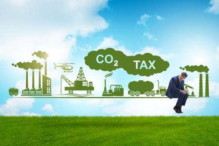 Businessman in carbon tax concept Banque d'images - 151431110