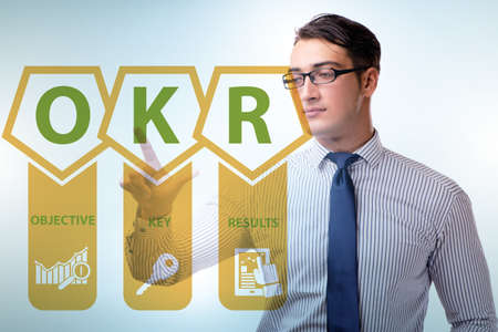 OKR concept with objective key results and businessman Archivio Fotografico