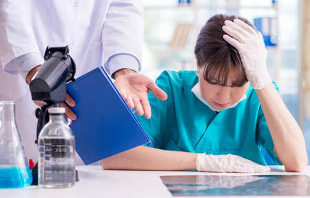Doctor angry at his assistant due to medical error