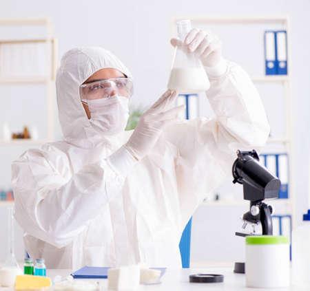 Food scientist testing new stuff in the lab Banco de Imagens