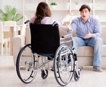 Desperate disabled person on wheelchair Banque d'images
