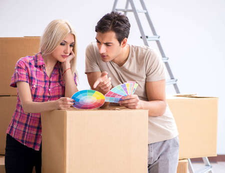 Young family preparing for home renovation