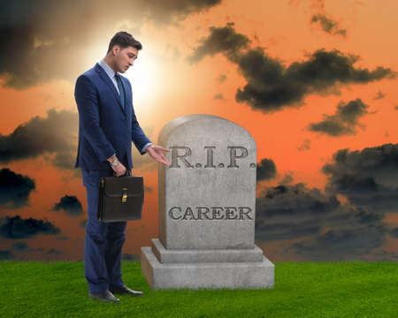 Businessman employee mourning his unsuccessul career Stock Photo