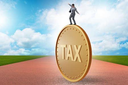 Businessman in tax payment concept Banque d'images