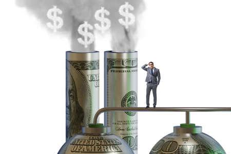 Businessman in carbon pricing concept Banque d'images