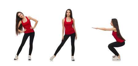 Young woman doing sport exercises isolated on white Foto de archivo