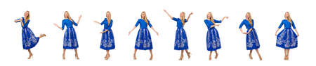 Woman in blue dress with flower prints isolated on white Stockfoto