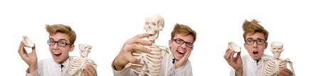 Funny doctor with skeleton isolated on white Banque d'images