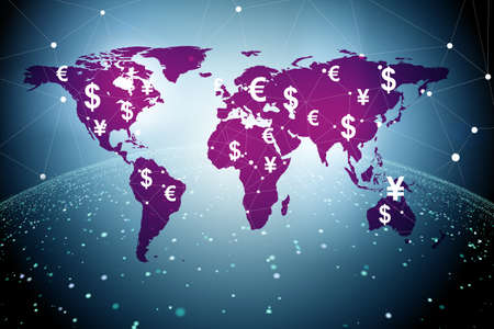 Global money transfer and exchange concept