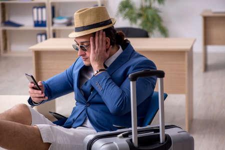 Businessman preparing for trip during pandemic