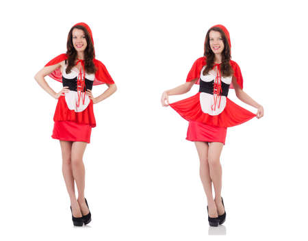 Little red riding hood isolated on white 版權商用圖片