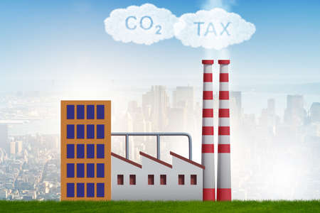 Plant in carbon tax and pollution concept - 3d rendering