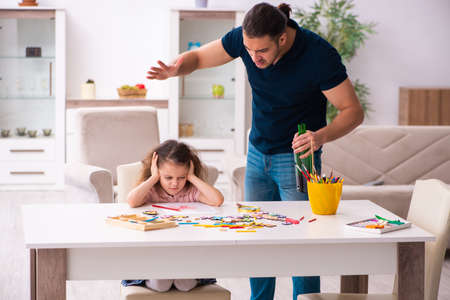 Drunk father and little girl indoors Stock fotó - 153212089