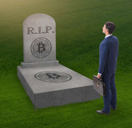 Businessman mourning the demise and death of bitcoin Zdjęcie Seryjne
