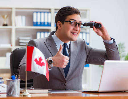 Businessman with Canadian flag in office 写真素材