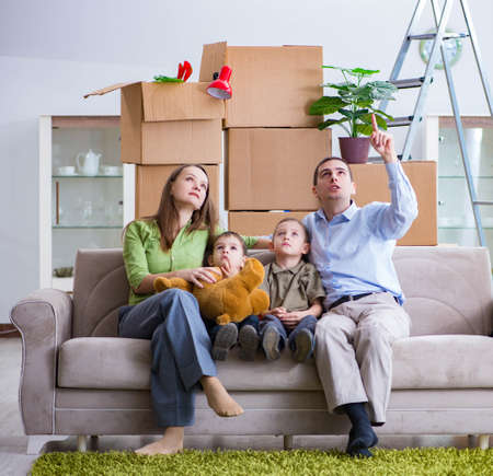 Young family enjoying time at home Imagens