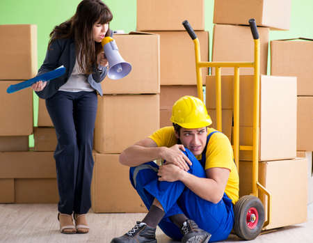 Woman boss and man contractor working with boxes delivery Stock fotó - 153217866