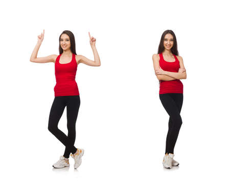 Young woman doing exercises on white Reklamní fotografie