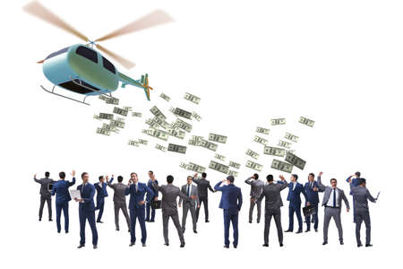 Businessman with helicopter throwing money concept 스톡 콘텐츠