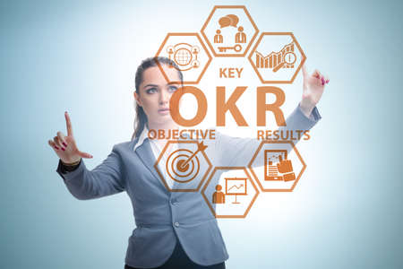 OKR concept with objective key results and businesswoman Archivio Fotografico