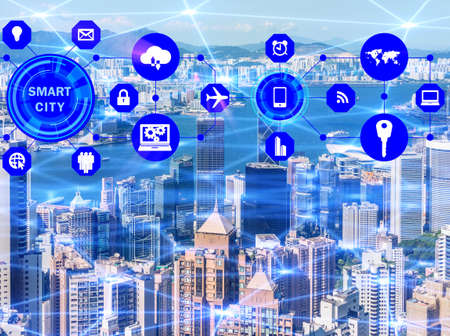 Concept of smart city and internet of things Stockfoto