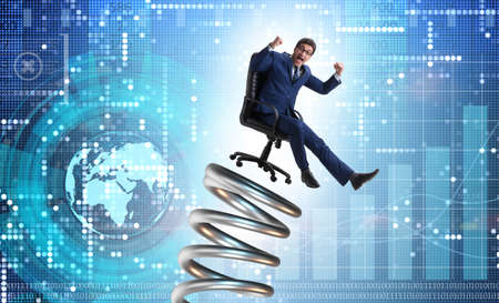 Businessman jumping from spring in promotion concept Imagens