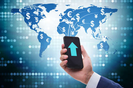 Global money transfer and exchange concept with businessman Stock fotó