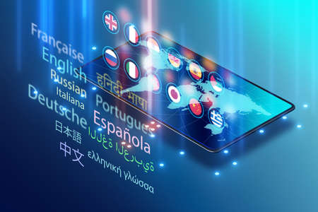 Concept of online foreign language translation and learning - 3d